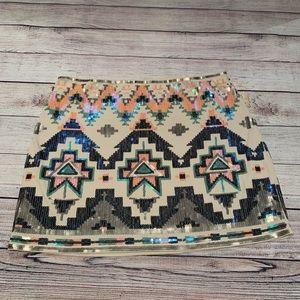 Express Aztec Print Sequin Skirt